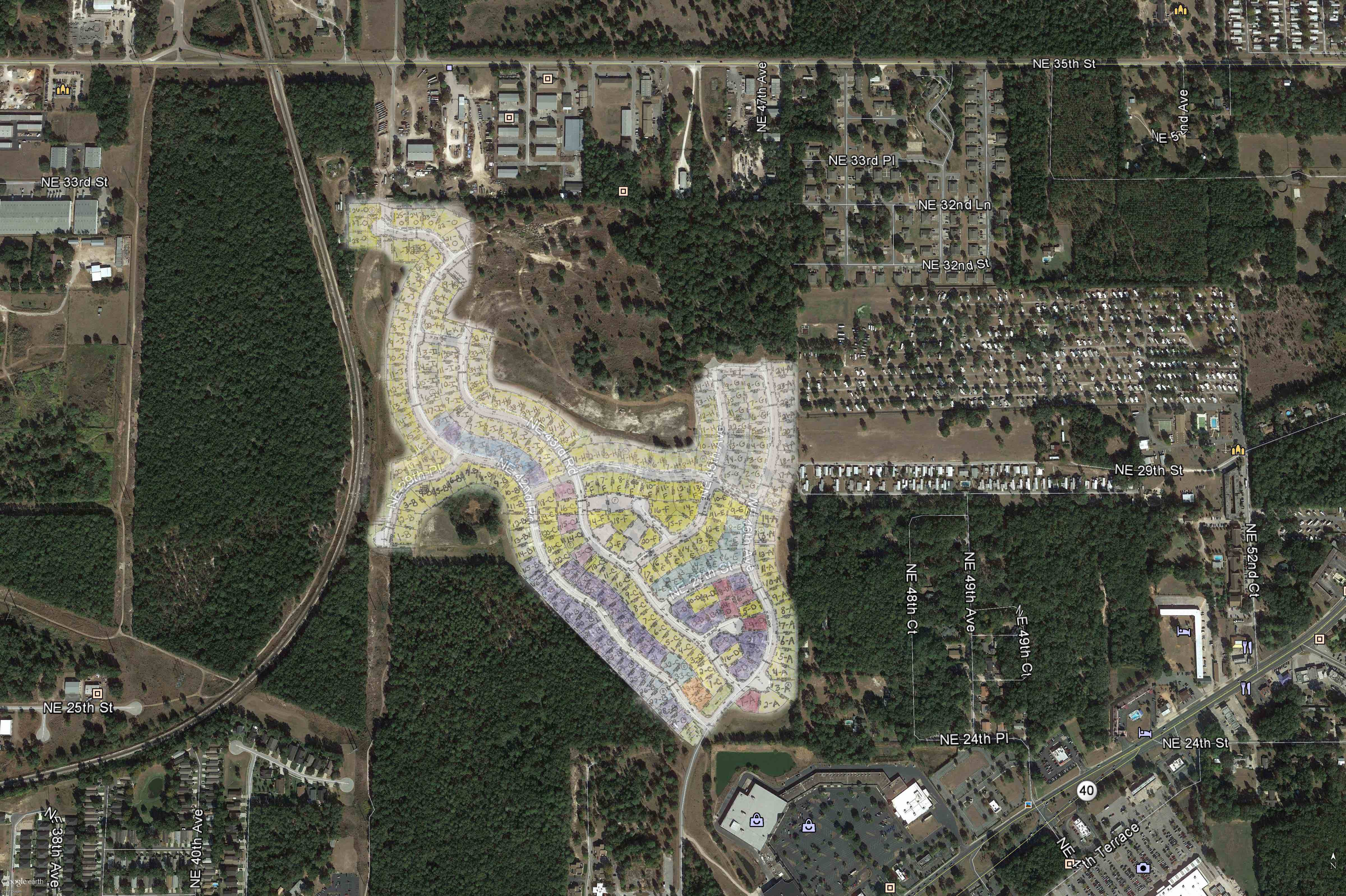 Oak Hill_Google Earth Aerial_site plan overlay