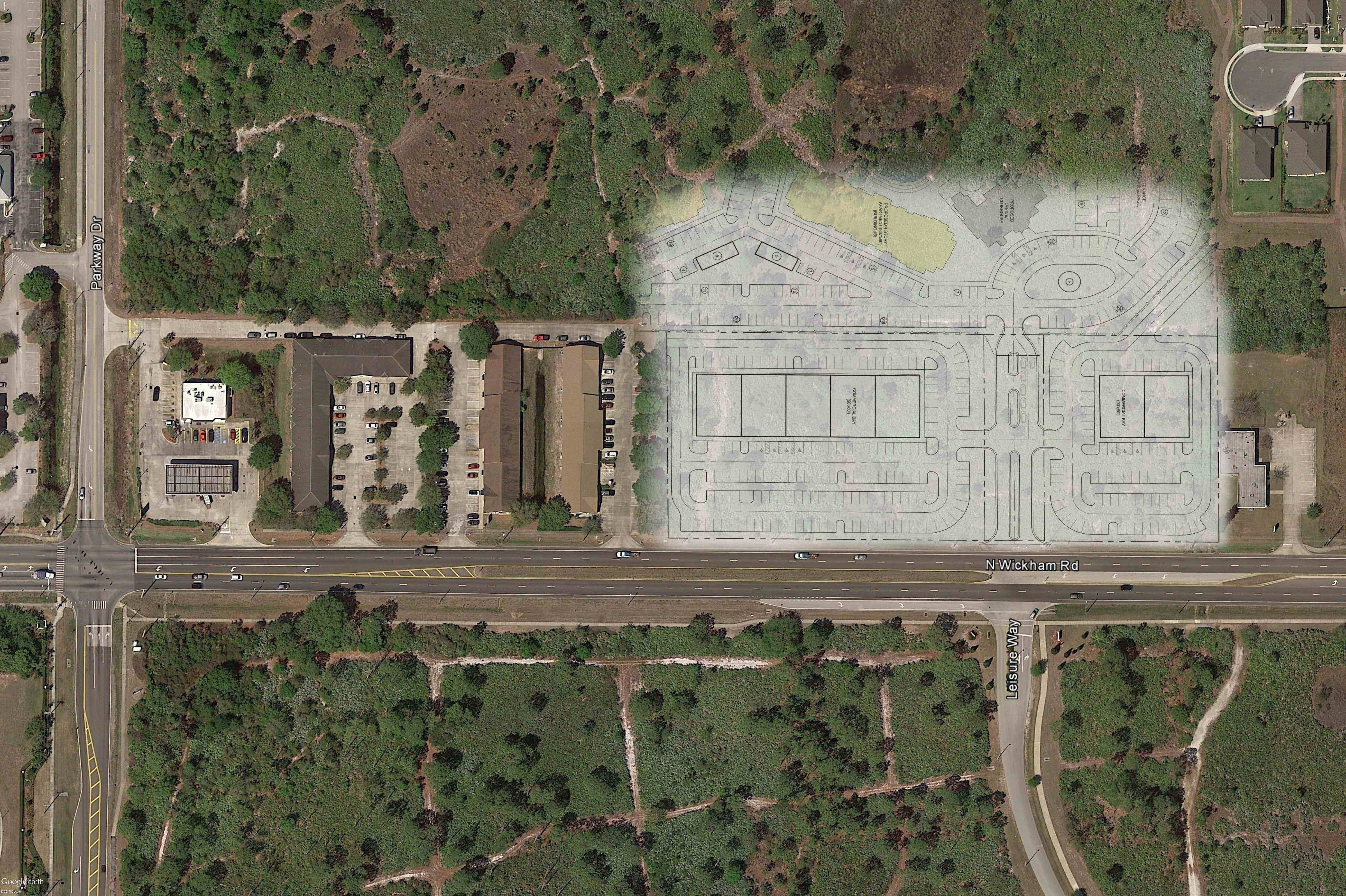 Addison Reserve Commercial Plaza_Google Earth Aerial_site plan overlay