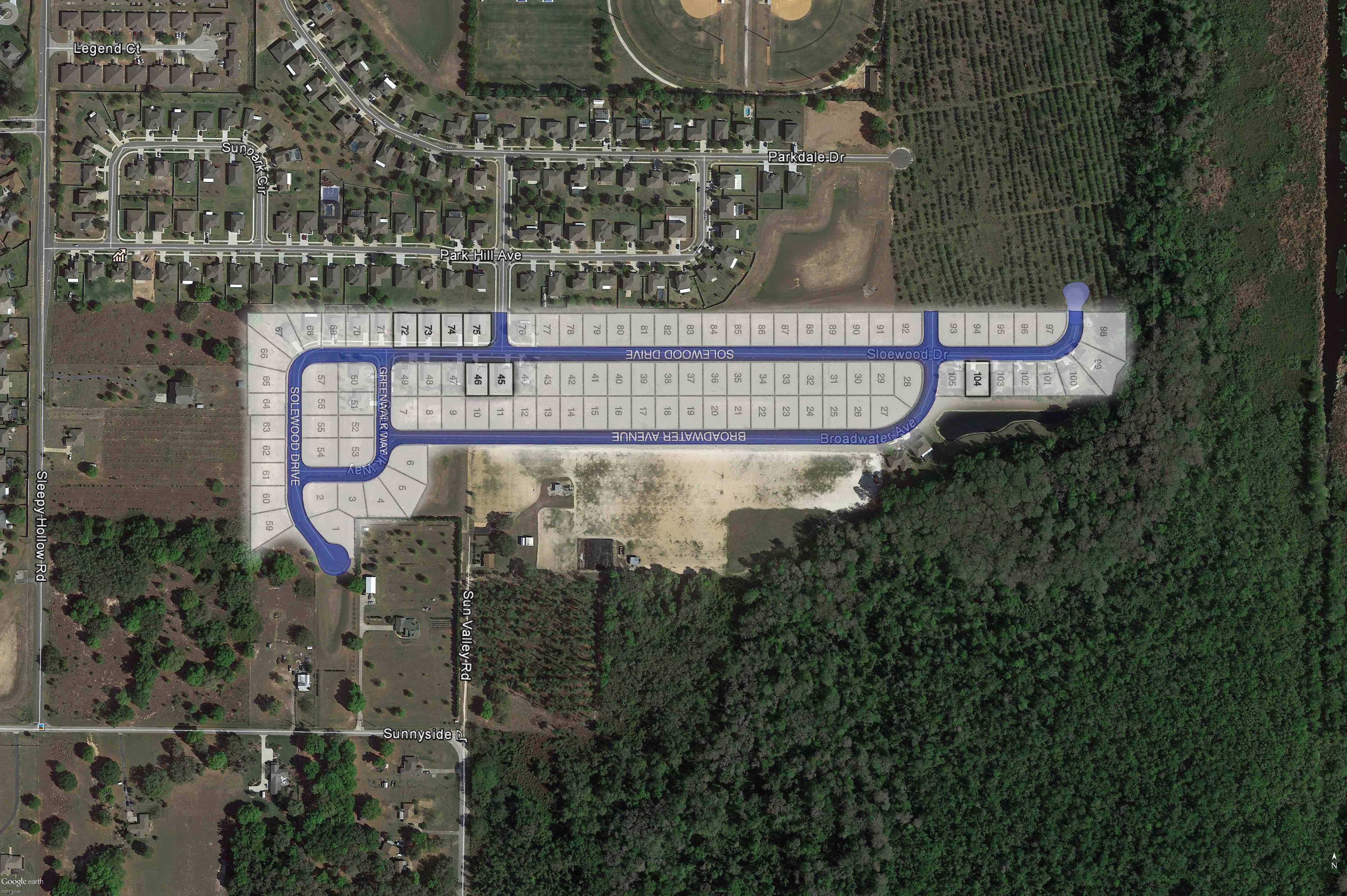 Park Hill Google Earth Aerial_site plan overlay
