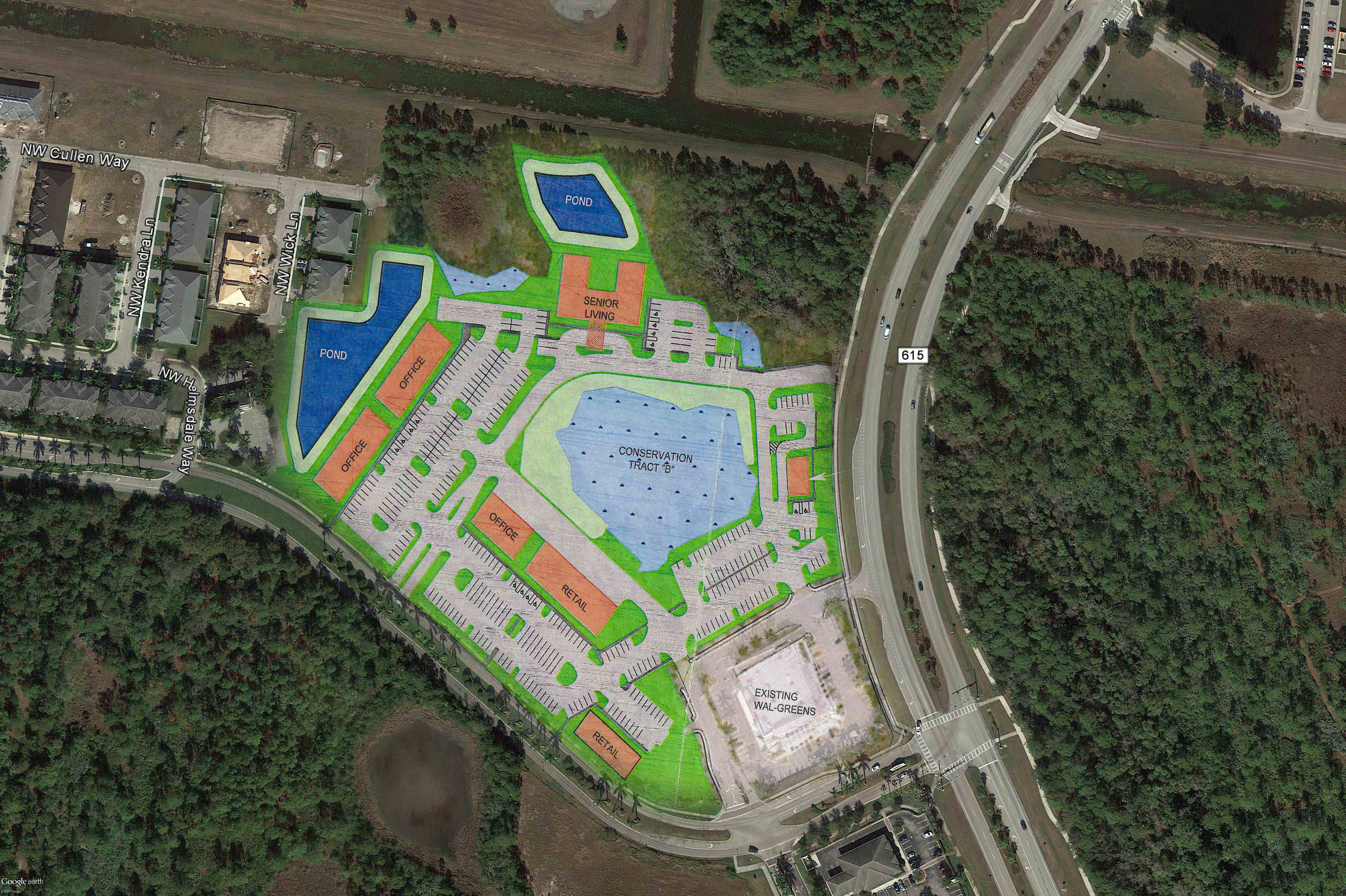 St. Andrews Park Commericial Plaza_Google Earth Aerial_site plan overlay